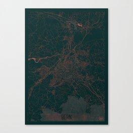 Bern Map Red Canvas Print
