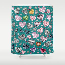 Heart Diamonds are Forever Love Teal Shower Curtain