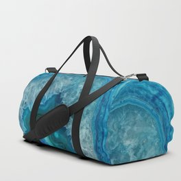 Teal Blue Agate slice Duffle Bag