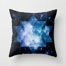 galaxy sacred geometry Turquoise Teal Throw Pillow