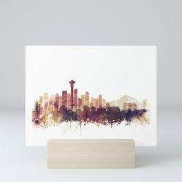 Seattle Skyline Watercolor Orange Purple by Zouzounio Art Mini Art Print