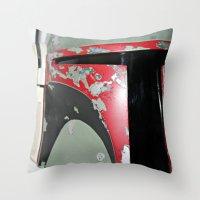 boba fett Throw Pillows featuring Boba Fett by McKenzie Nickolas
