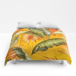HAWAIIAN GARDEN TROPICAL LEAVES | golden yellow orange Comforters