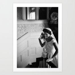 Jackie Kennedy Throwing Wedding Bouquet - 1953 Art Print