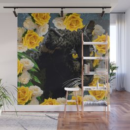 BLACK PANTHER AND YELLOW ROSES Wall Mural