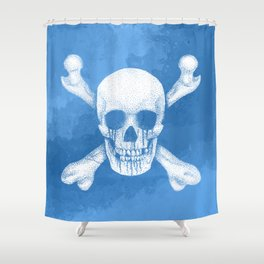 Jolly Roger Pirate Skull Blue Pastel Shower Curtain