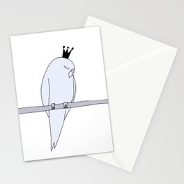 Blue budgie bird with crown Stationery Cards