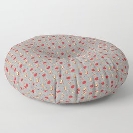 Apples on grey - repeating all-over print  Floor Pillow