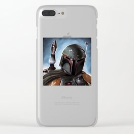Boba Fett Art Portrait Clear iPhone Case