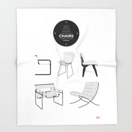 CHAIRS - A tribute to seats (minimalistic version) Throw Blanket