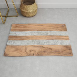 Striped Wood Grain Design - Concrete #347 Rug