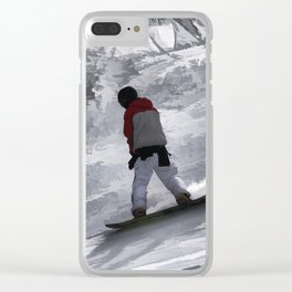 "Snowboarder ""just cruisin'"" Winter Sports Gift Clear iPhone Case"