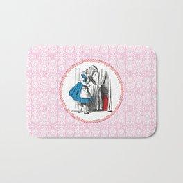 Alice in Wonderland   Alice finds Key and the Door to Wonderland   Pink Damask Pattern   Bath Mat