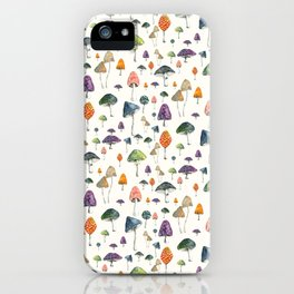 Watercolor mushrooms pattern on cream background iPhone Case