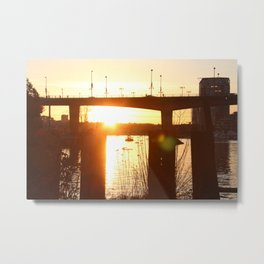 Sunset over the Cambie Bridge Metal Print