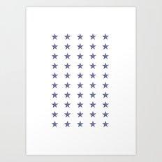 50 Blue Stars Art Print