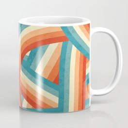 Red, Orange, Blue and Cream 70's Style Rainbow Stripes Coffee Mug