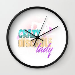 Crazy Disc Golf Lady Distressed T-Shirt Wall Clock
