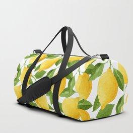 Yellow Lemon Watercolor Fruit Duffle Bag