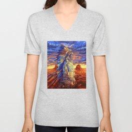 native american colorful portrait Unisex V-Neck