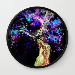 Wild Neon Apple Tree Watercolor Wall Clock