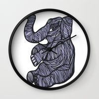 baby elephant Wall Clocks featuring Baby Elephant by Kate Shea