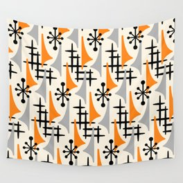 Mid Century Modern Atomic Wing Composition Orange & Gray Wall Tapestry