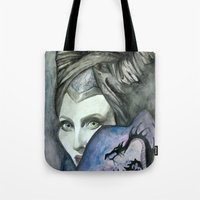 maleficent Tote Bags featuring Maleficent by Giulia Colombo