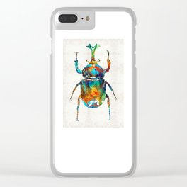 Colorful Beetle Art - Scarab Beauty - By Sharon Cummings Clear iPhone Case