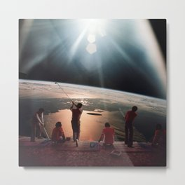 Golfers In Space Metal Print