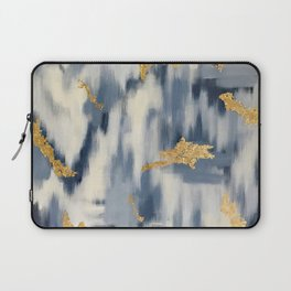 Blue and Gold Ikat Pattern Abstract Laptop Sleeve