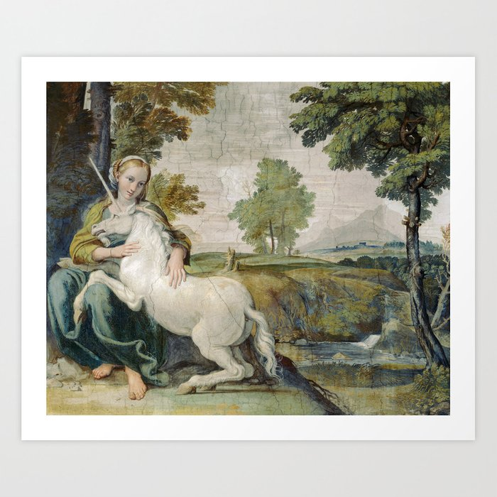 Vintage Unicorn Painting Art Print by fineearthprints