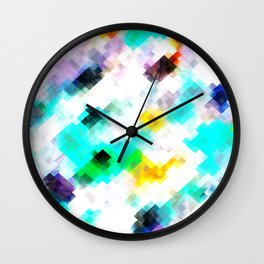 psychedelic geometric pixel abstract pattern in blue green yellow pink Wall Clock