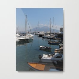 Naples Yacht Port With Vesuvius  Metal Print