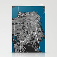 san francisco map Stationery Cards featuring San Francisco city map black colour by MCartography