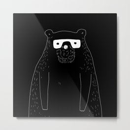 Bear with glasses Metal Print