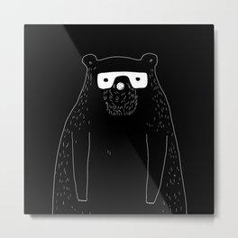 Bear with glasses Metal Print