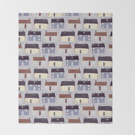 Houses Village Vector Pattern Repeat Seamless Background Throw Blanket