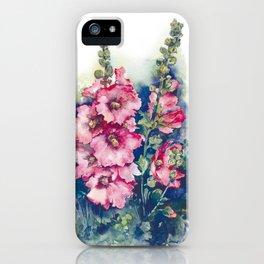 Watercolor Hollyhocks pink flowers iPhone Case