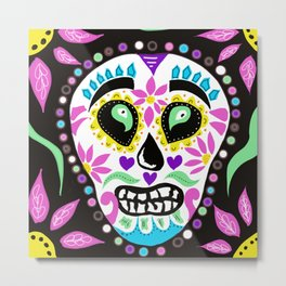 Mari gras mask , day of the dead skull Metal Print
