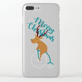 Mr Reindeer having Fun with his Penny-farthing Bicycle Clear iPhone Case