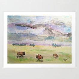 """Three Bison"" Art Print"