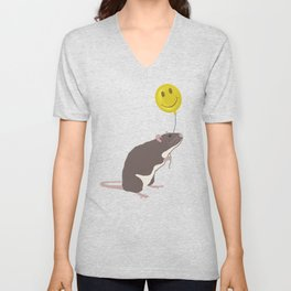 Rat with a Happy Face Balloon Unisex V-Neck