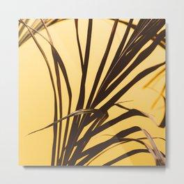 Palm on Yellow Metal Print