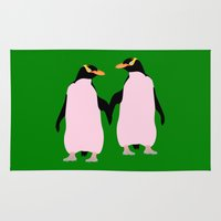 lesbian Area & Throw Rugs featuring Gay Pride Lesbian Penguins Holding Hands by mailboxdisco