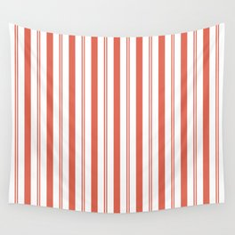 Pantone Living Coral Stripes Thick and Thin Vertical Lines (2) Wall Tapestry