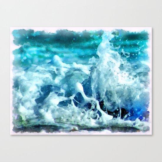 Sea Splash Watercolor Canvas Print
