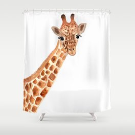 Watercolor Giraffe Shower Curtain