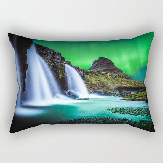 Aurora Borealis Waterfall Rectangular Pillow