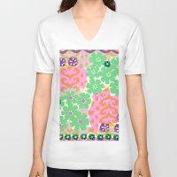 les mis V-neck T-shirts featuring Les Fleurs by Pink Pagoda Studio / Barbara Perrine Chu